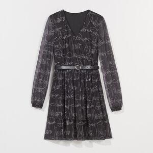 Mohito - Plisované šaty spáskem - Černý