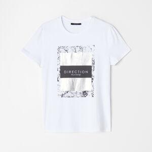 Mohito - Tričko s  třpytivým potiskem - Bílá