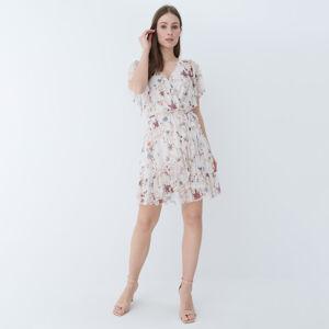 Mohito - Květinové šaty spřekládaným výstřihem - Bílá