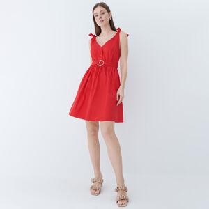 Mohito - Áčkové šaty spáskem - Červená
