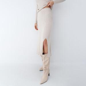 Mohito - Pletená midi sukně - Krémová