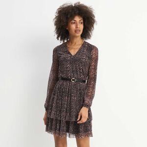 Mohito - Vzorované šaty s opaskem - Béžová