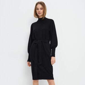 Mohito - Úpletové šaty s vázáním v pase - Černý