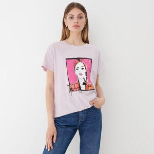 Mohito - Tričko s kontrastním potiskem - Růžová