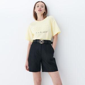 Mohito - Bavlněné tričko s3D aplikací - Žlutá