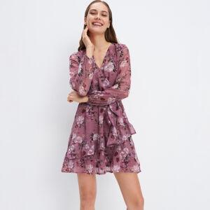 Mohito - Šifonové květované šaty - Růžová