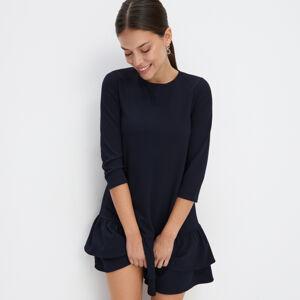 Mohito - Úpletové šaty s volánem - Modrá